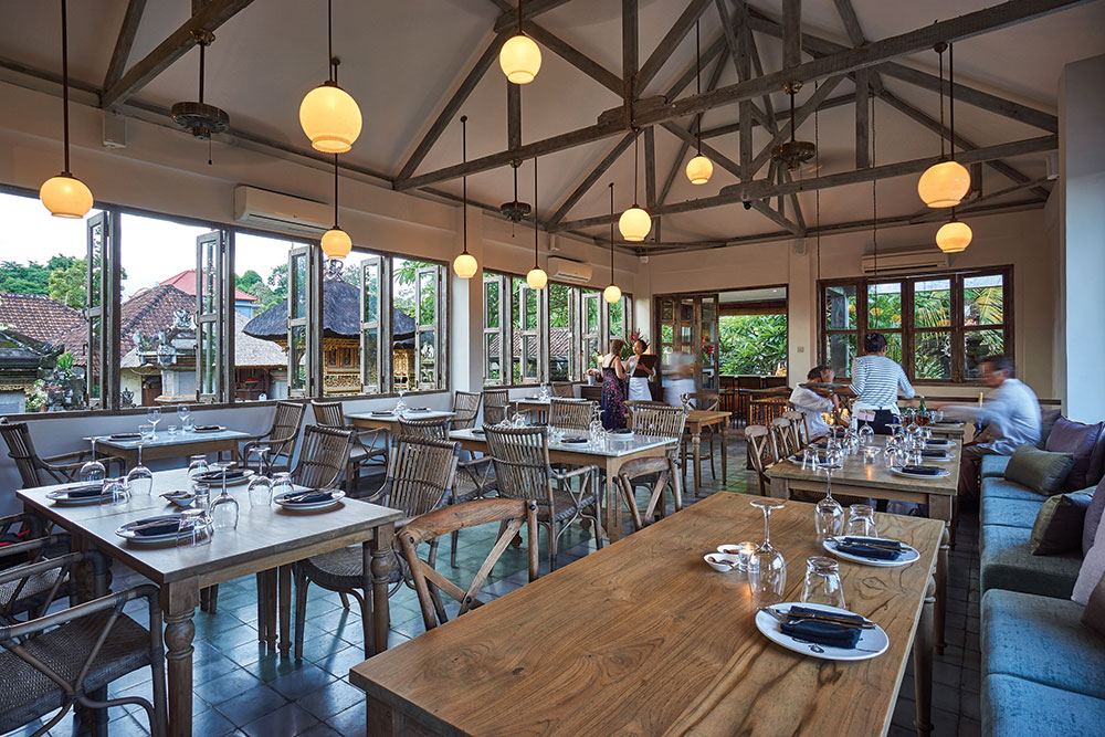 The upstairs dining room at Hujan Locale in Ubud.