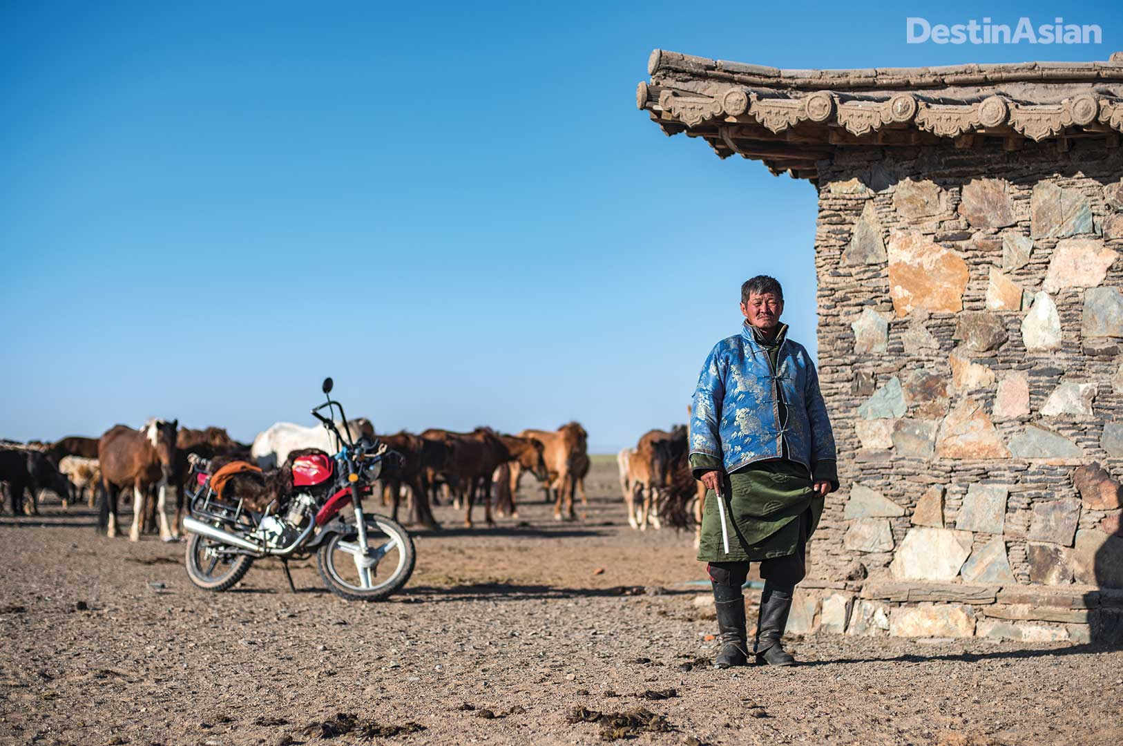 "A ""modern"" Mongolian herder at Three Camel Lodge."