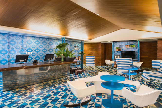 Done up in blue, the lobby is welcome sight for visitors.
