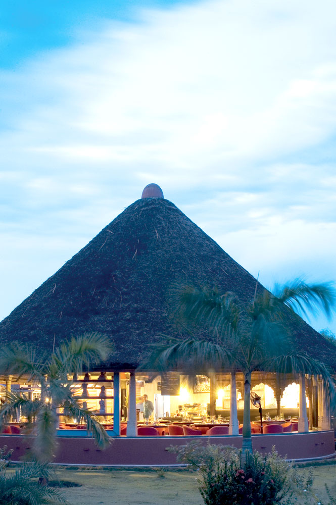 The Dune's thatched-roof restaurant.