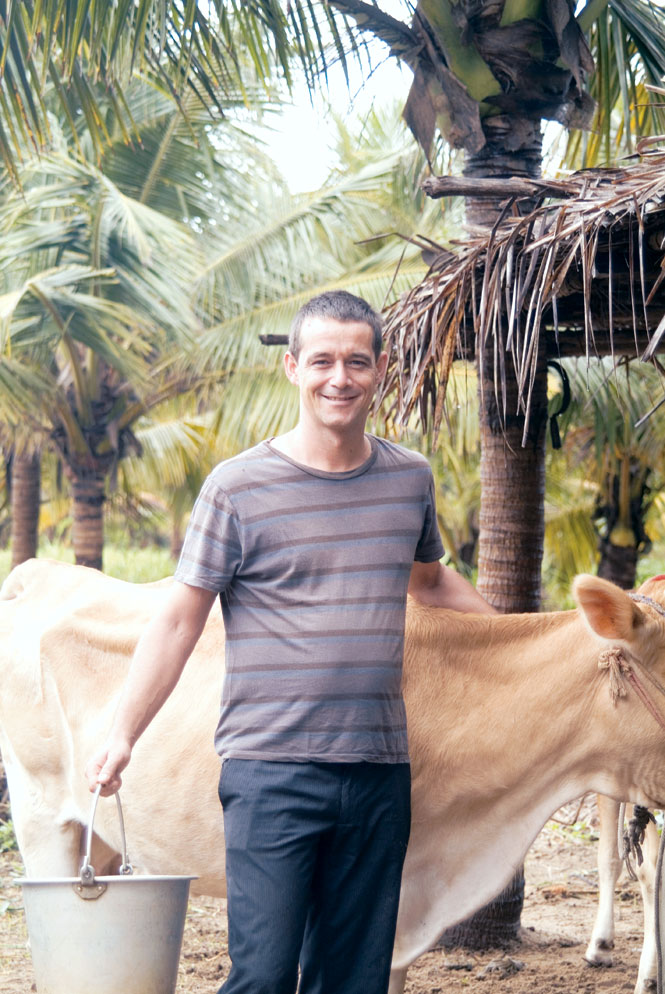 Dimitri Klein after a morning's milking.