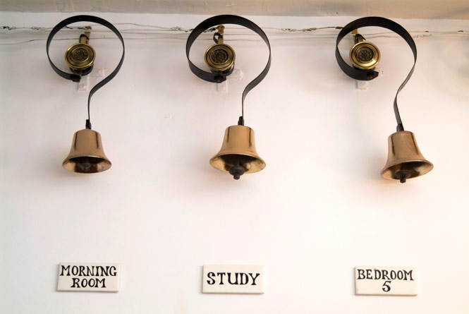original servants' bells still hang in the main hallway at Quamby Estate.