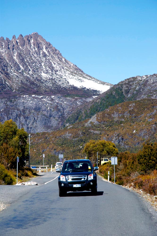 Cradle Mountain looms above the approach to Dove Lake.