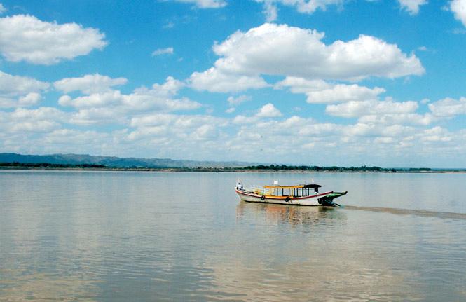 Irrawaddy River traffic.