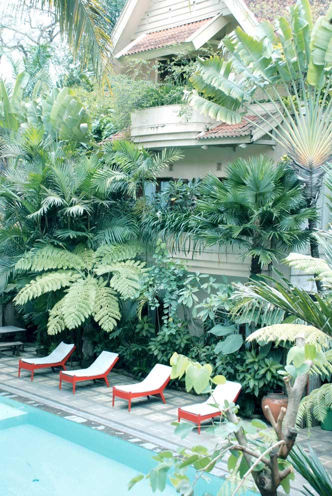 The leafy gardens of Hotel Tugu Malang.