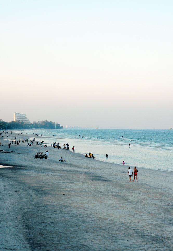 Sunset on Hua Hin's main beach.