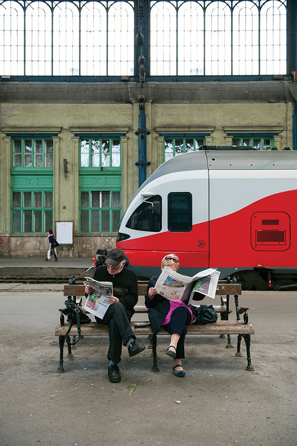 The boarding platform at Budapest's Keleti Train Station.