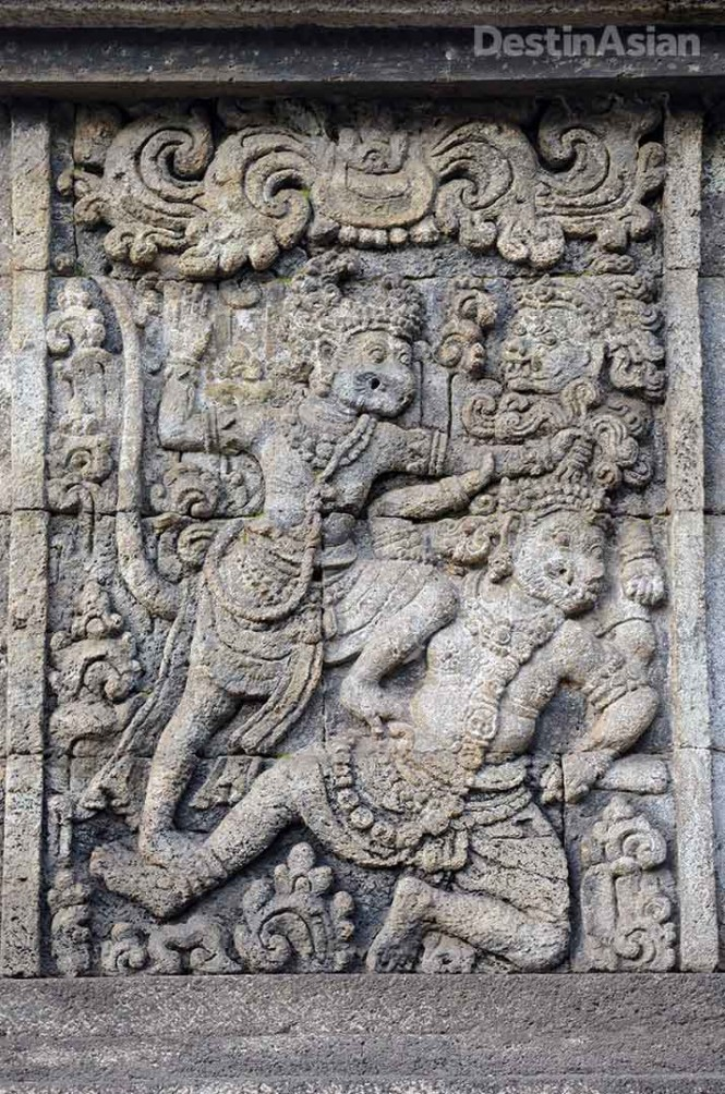 Hanoman as depicted on the Hindu temple of Penataran, constructed from the 12th to 15th centuries under the Majapahit Empire.
