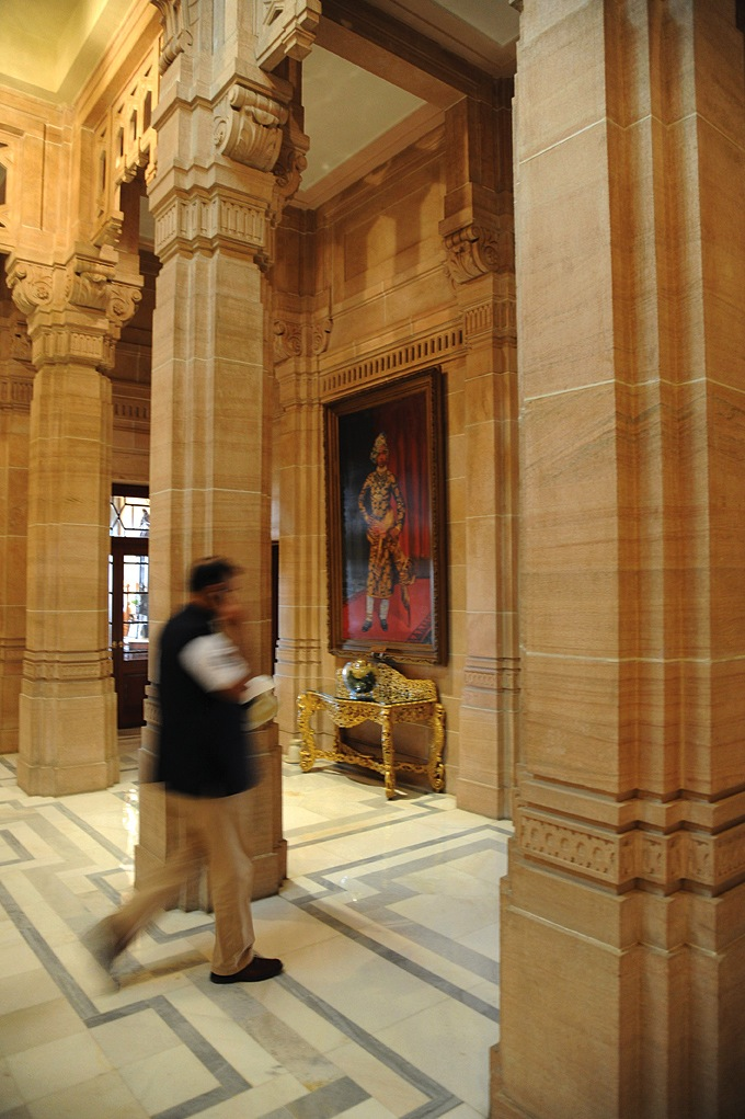 The reception area at Umaid Bhawan Palace, which now houses a Taj-run hotel.
