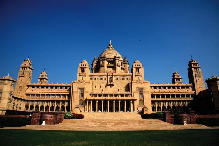 The Umaid Bhawan Palace's rear facade.