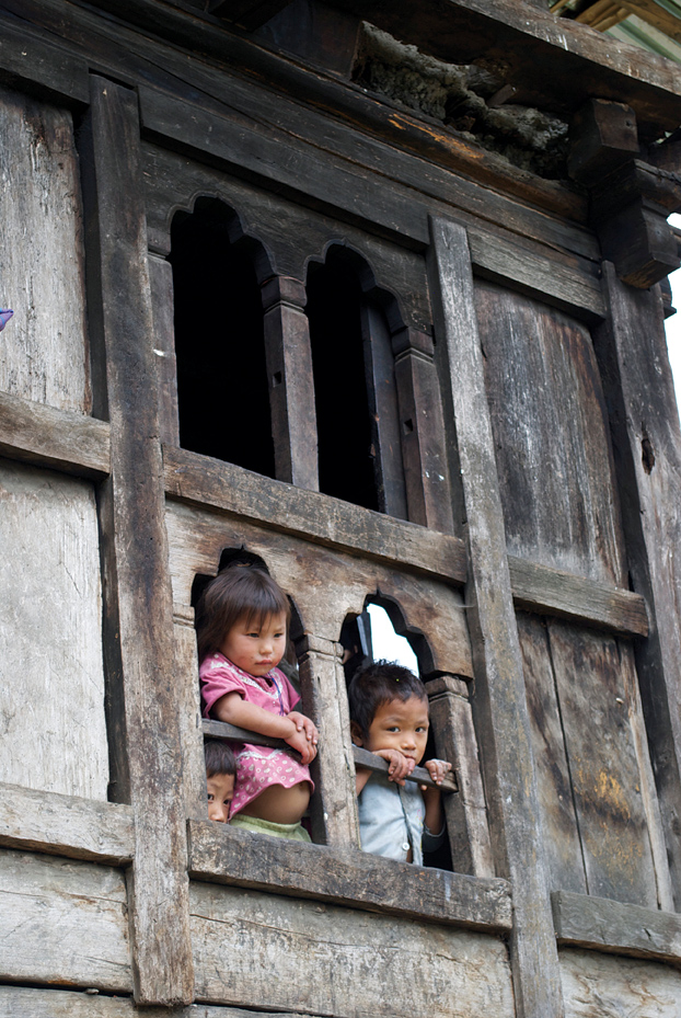 Timber-and-mud houses are typical of Bhutan's mountain villages.