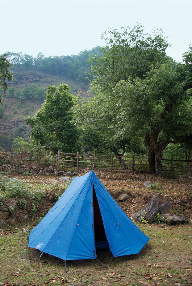 A roomy tent rovided by Journey to Bhutan during the trip.