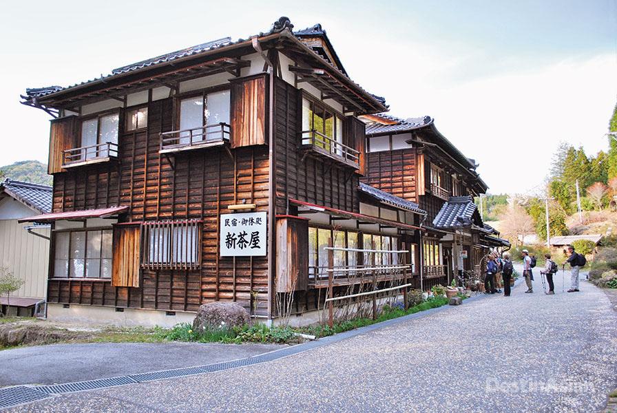 Outside the Shinchaya Inn, a family-run guesthouse near Magome.
