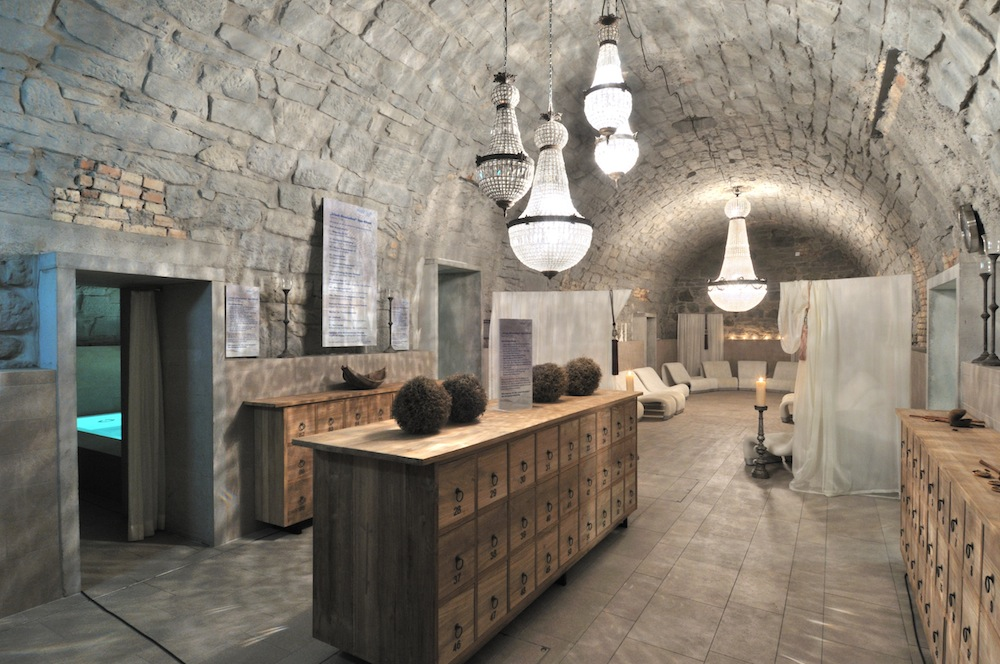 A subterranean relaxataion area at Zurich's Thermalbad & Spa.