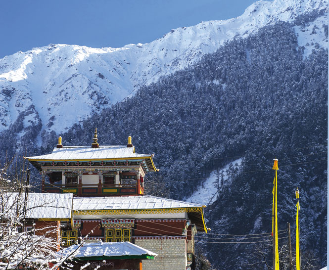 The 200-year-old monastery of Lachen sits in isolated splendor in northern Sikkim.