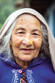 The matriarch of Shakti Himalaya's homestay in Radhu Kandu