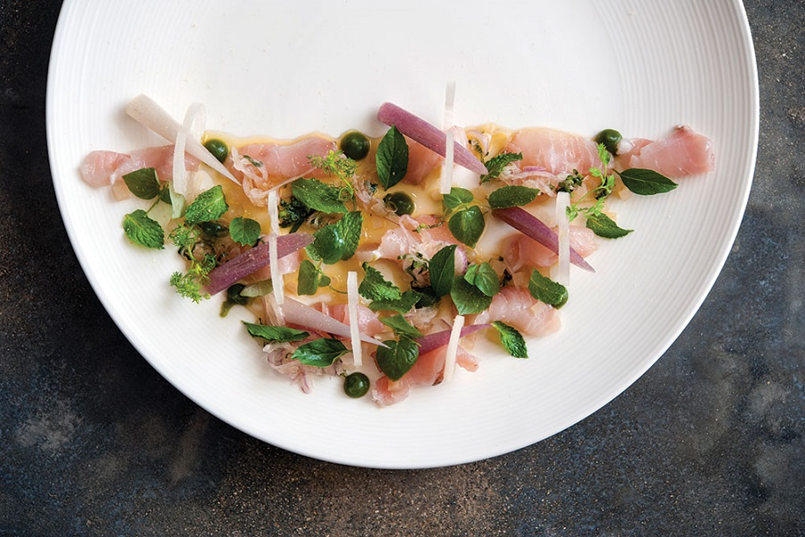 Raw tuna with lily flower stem, banana heart, salted turnip, and hot basil at the Common Tiger.
