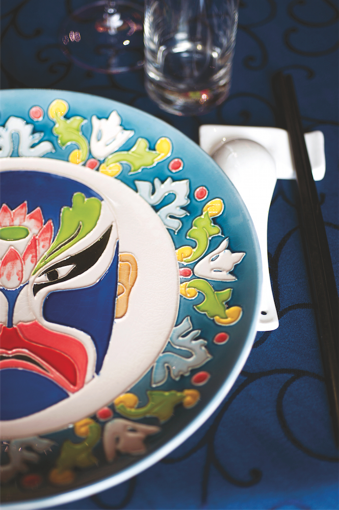 A hand-painted dinner plate at Chin's.