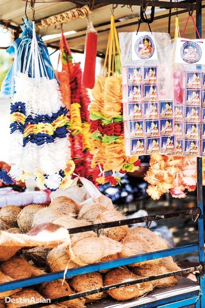 Garlands, coconut husks, and other offerings for sale at Trincomalee's Sri Pathrakali Temple.