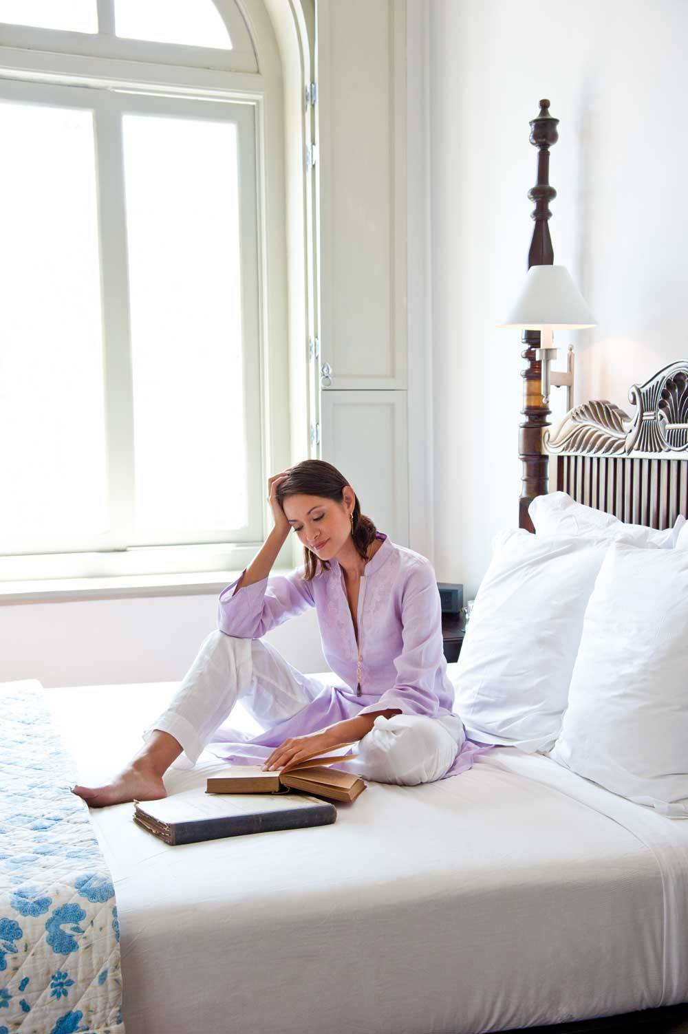 Leafing through history in one of the Amangalla's colonial-style suites, top and pants by Barefoot.