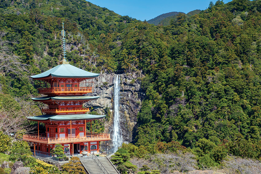 The Seiganto-ji pagoda at Kumano Nachi Taisha, with the 133-meter Nachi Falls as a backdrop.