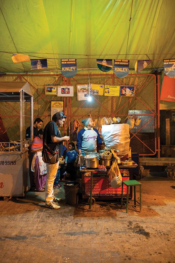 Gaggan Anand at Jetendra Pundit's puchka stall in south Kolkata, near Vivekananda Park.