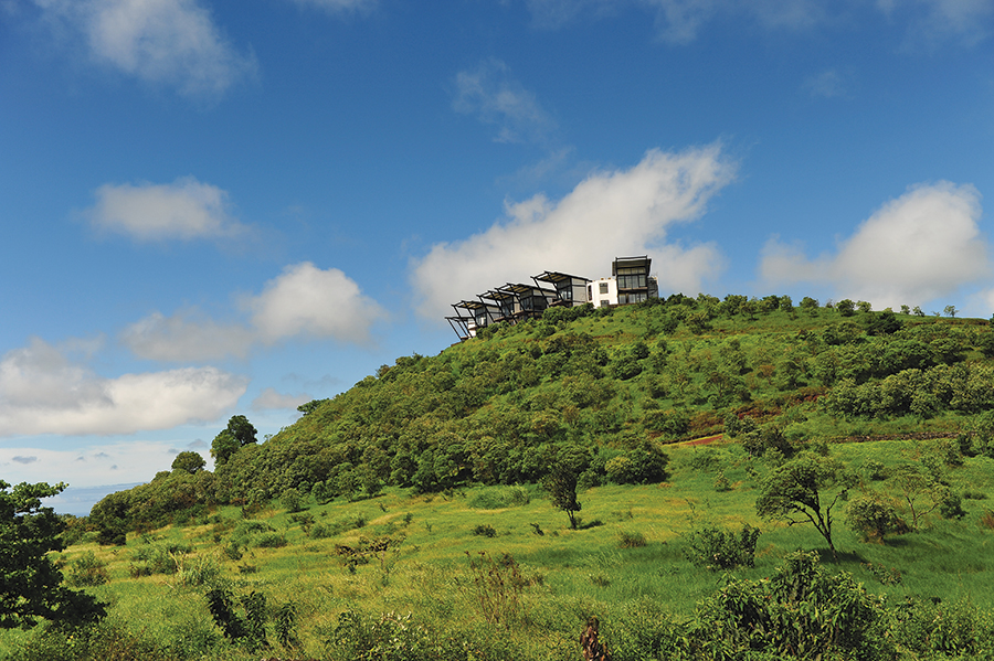 Pikaia Lodge is perched 450 meters above sea level amid the volcanic highlands of Santa Cruz Island.