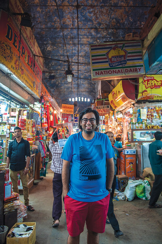 Gaggan Anand amid the bustle of Kolkata's New Market.
