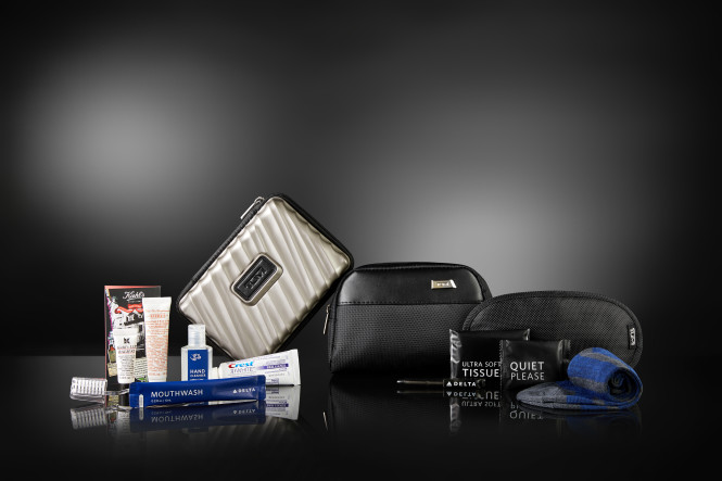 Delta's brand new TUMI-made amenity kits