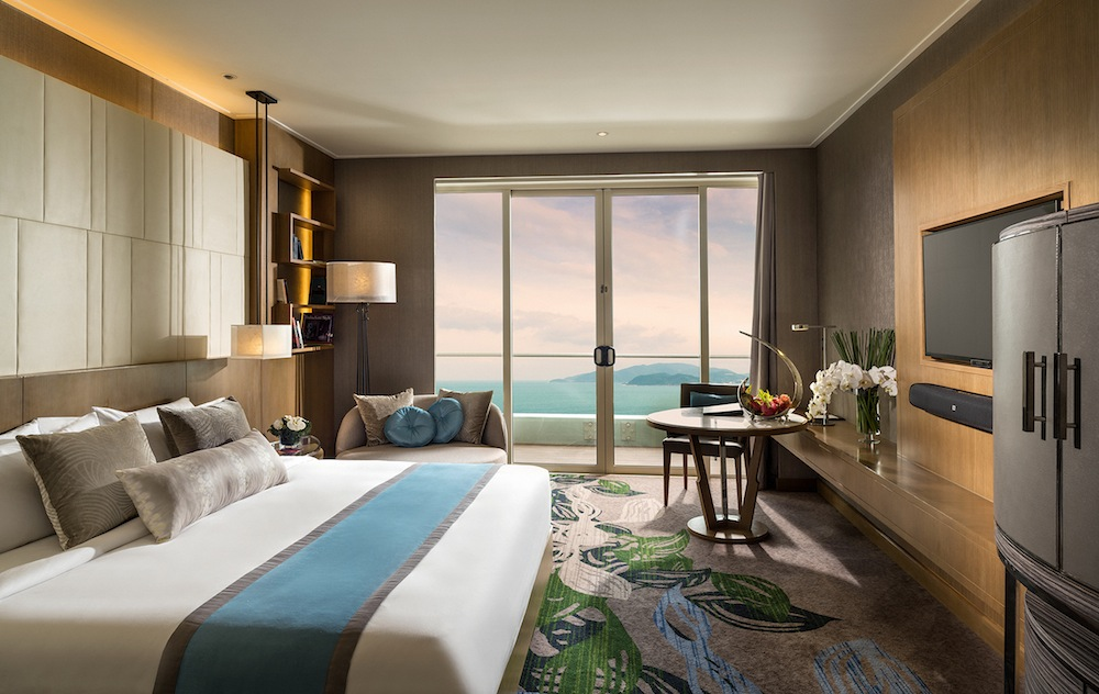 A deluxe room with views of the Nha Trang bay.