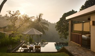 Views of Ubud Valley from a deluxe pool villa.