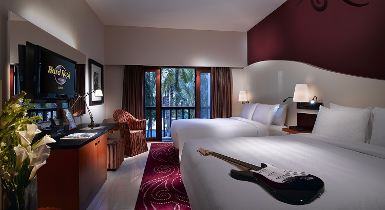 The Deluxe Premium Twin room at Hard Rock Hotel Bali.