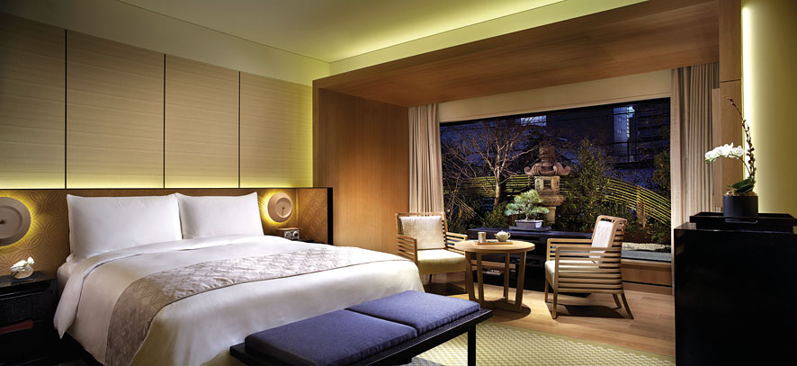 Many of the guestrooms overlook Kyoto's Kamogawa river and Higashiyama mountains.
