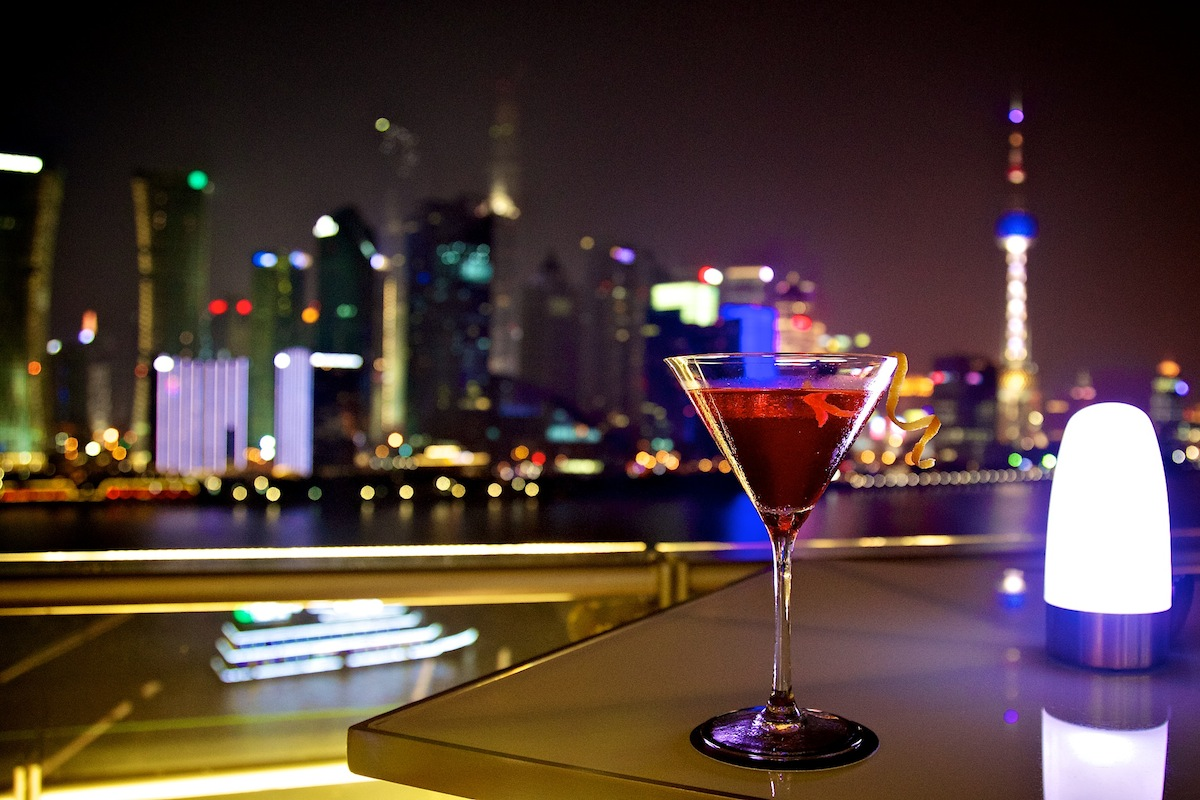 Catch views of both Pudong and Puxi sights from the bar.