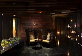 The design of the spa, whose lobby area is pictured here, was inspired by the mythical Himmapan forest.