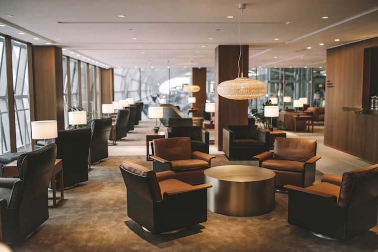 Custom furnishings provide seating for 140 first- and business-class passengers.