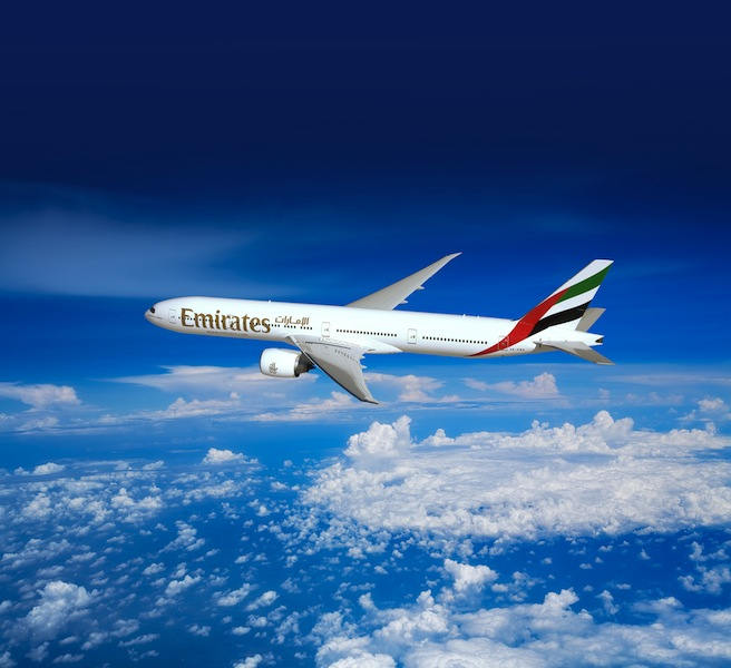 The Emirates Boeing 777-300ER services Dubai-Birmingham routes.