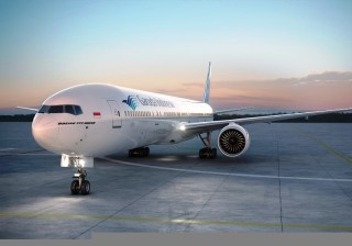 Garuda's B777-300ER aircraft is equipped with Wi-Fi, live TV, and a chef on board for first-class passengers.