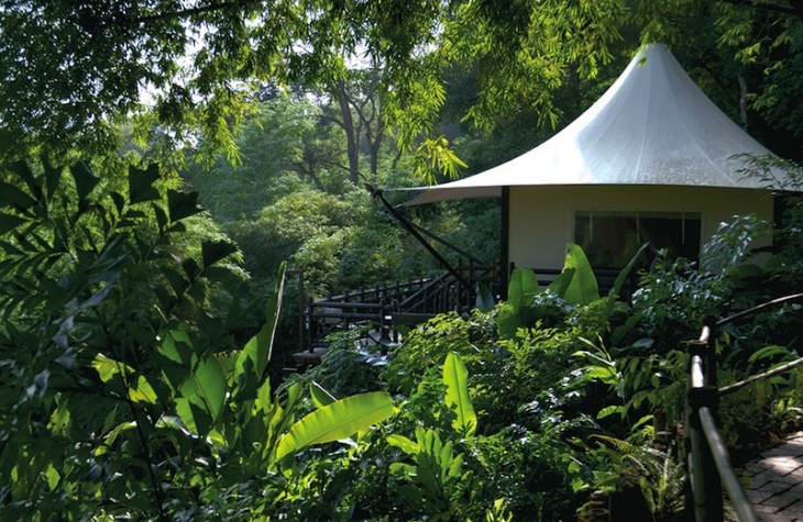 Accommodations at the Four Seasons Tented Camp Golden Triangle come as deluxe tents that feature expansive porches with custom-made hot tubs.