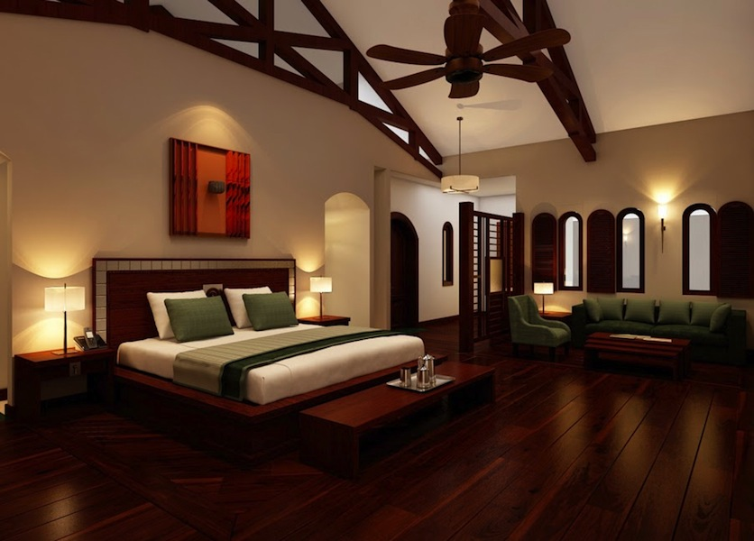 A rendering of the resort's two-floor Abbey Suite, with an upstairs bedroom and downstairs bathroom.