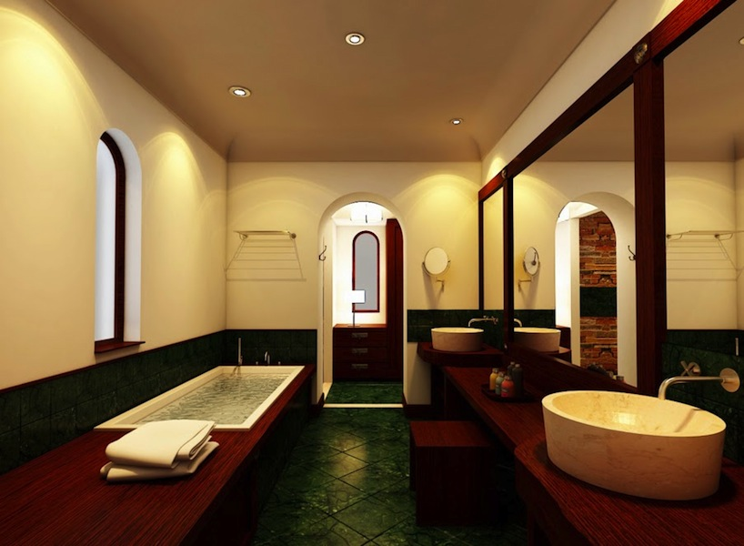 A rendering of a suite bathroom, with marble floors and a sunken tub.