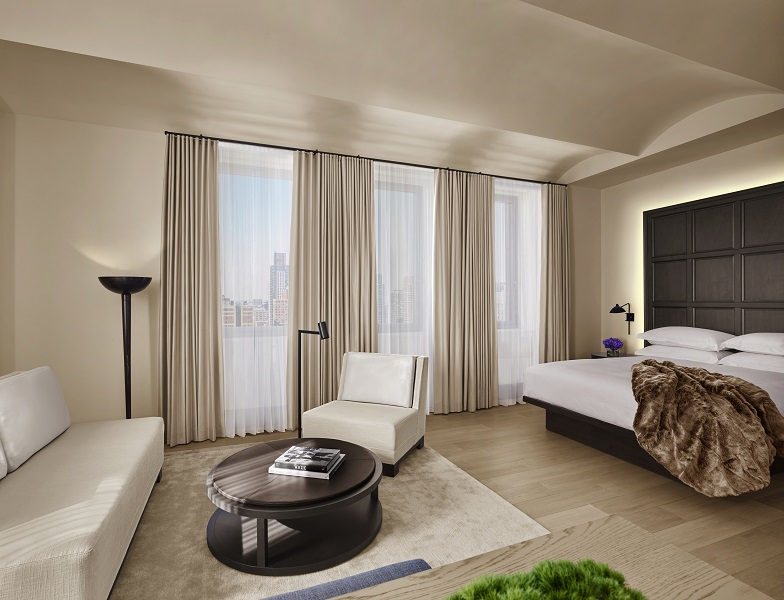Silk curtains and hand-tufted silk rugs are featured in every room.