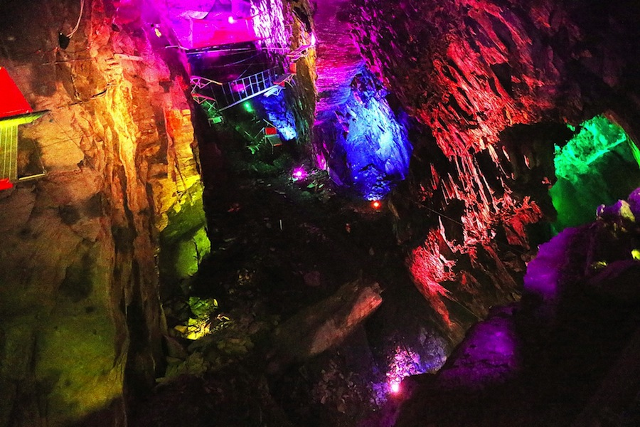 Zip World Caverns takes visitors on a series of 10 different zip lines through a subterranean slate mine.