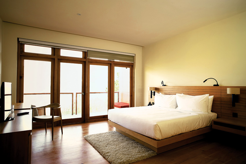 One of 24 elegantly spare guest rooms at the Dhensa Punakha.