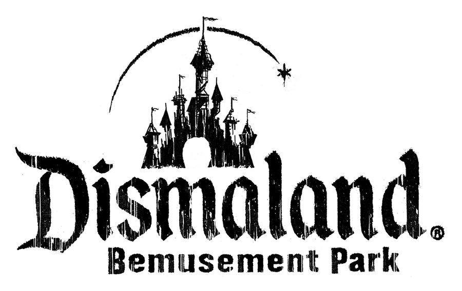 The Dismaland logo holds plenty of resemblance to that of Disneyland.