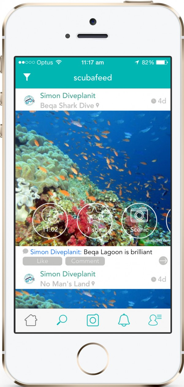 The app allows divers to upload photos and share their diving location with other divers.
