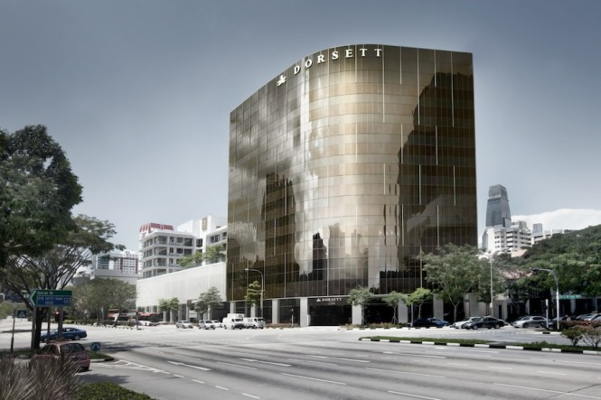The dramatic bronze exterior of Dorsett Singapore.