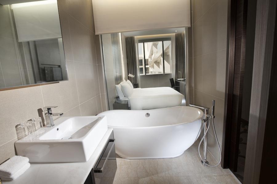 The Splash Room has a roomy soak bathtub.