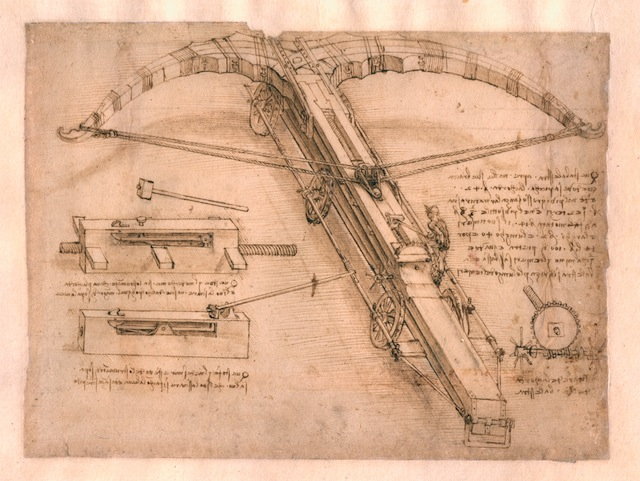 'Drawing of a Giant Crossbow', one of the new pages on display.