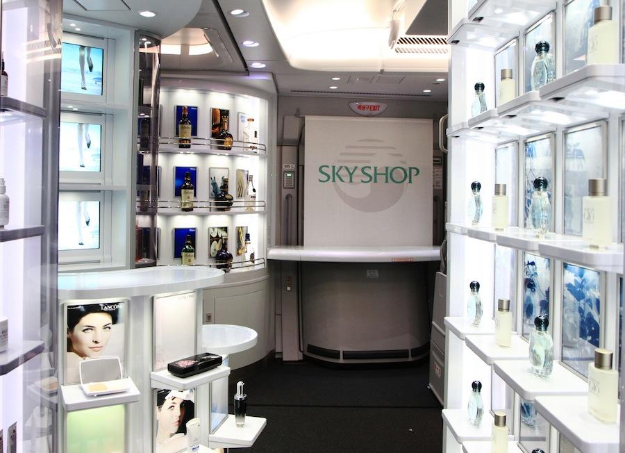 The duty free shop aboard the Korean Air A380 plane.